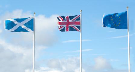 scottish, british and european flags in wind
