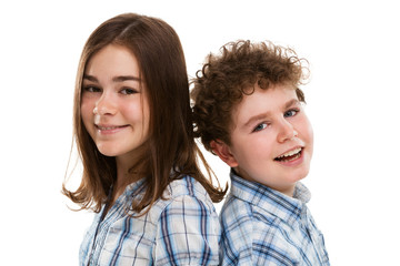 Portrait of girl and boy isolated on white background