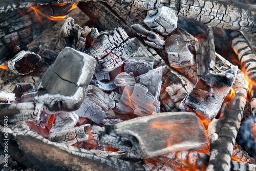 Campfire burning coal