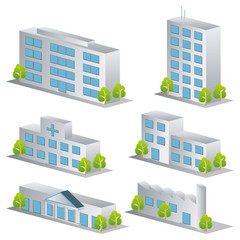 3d building vector set