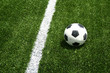 soccer ball on occer field have line