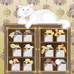 Calendar 2011, year of cat,  vector illustration.