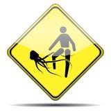 Señal peligro picadura medusa poster