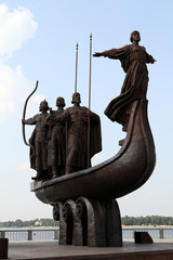 A famous monument to the mythical founders of Kiev, Ukraine