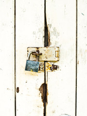 Old wooden door lock