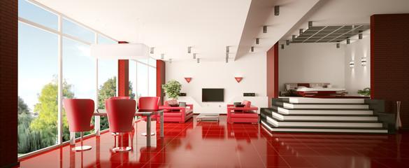 Modern apartment mit dem roten Boden 3d