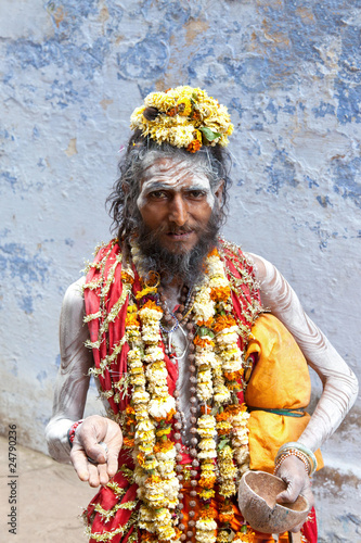Sadhu at the ghats in Varanasi, India.