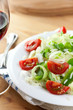 Rice salad with vegetables and red wine
