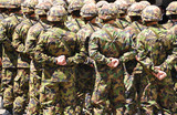 Swiss solders in camouflage poster