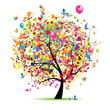 Happy holiday, funny tree with balloons - 24795853