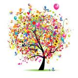 Fototapety Happy holiday, funny tree with balloons