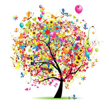 Bonnes vacances, arbre drôle avec des ballons