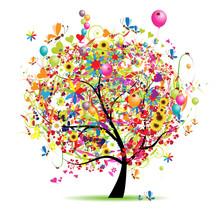 Happy holiday, funny Baum mit Luftballons