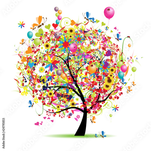 Happy holiday, funny tree with balloons