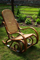 Classic rocking chair on grass