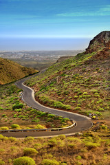 Winding road in Canary mountains