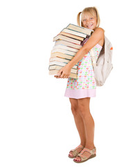 Back to School.Little Schoolgirl with heavy books