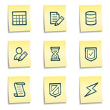 Database web icons, yellow notes series