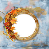 Old autumn frame on shabby background poster