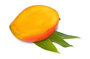 Mango section isolated on white background