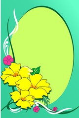 Illustration of flower design in a green background