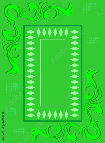 Illustration of floral and wave design in a green background