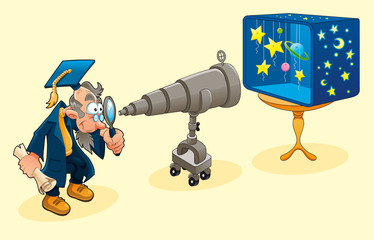 Scientist with telescope. Symbolical  vector illustration.