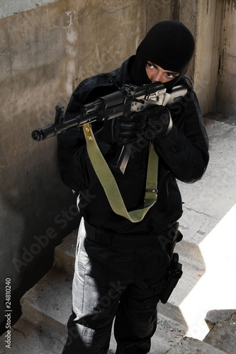Terrorist with AK-47 automatic rifle