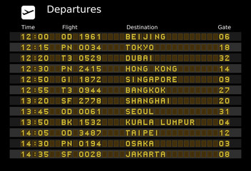 Airport departure board - destinations in Asia