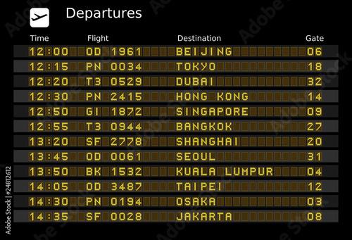 Airport departure board - destinations in Asia - 24812612