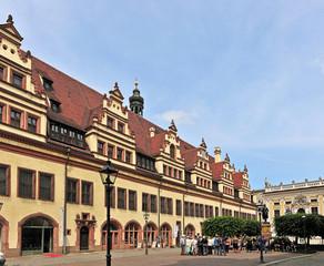Naschmarkt und Rathausrückseite in Leipzig