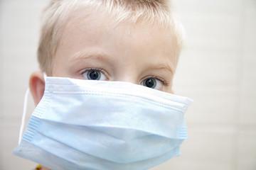 child with medecine mask keep health in smog city