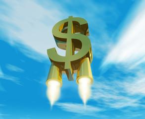 símbolo de dinero impulsado por toberas de cohete