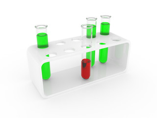 Test tubes on a support