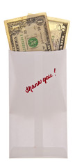 Money in a Bank Envelope with a Handwritten Thank You