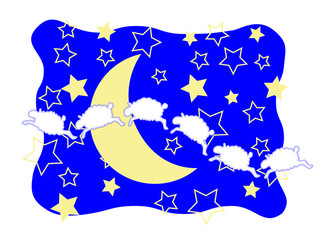 Six sheep frolicking among the crescent moon and stars.