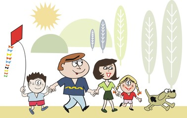 Happy family walking cartoon