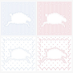 Four sheep gift tags for baby