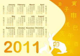 The Calendar 2011. Chinese horoscope