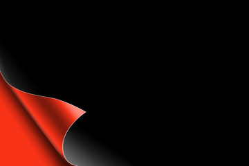 red paper page with dark background, text,