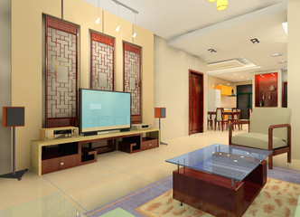 a china style living room in the house