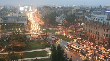 Time lapse traffic at twilight in Bucharest, Rumania