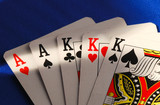 Poker cards concepts of gambling or taking a risk poster