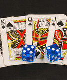 Blue dices on poker cards concepts of gambling or taking a risk poster