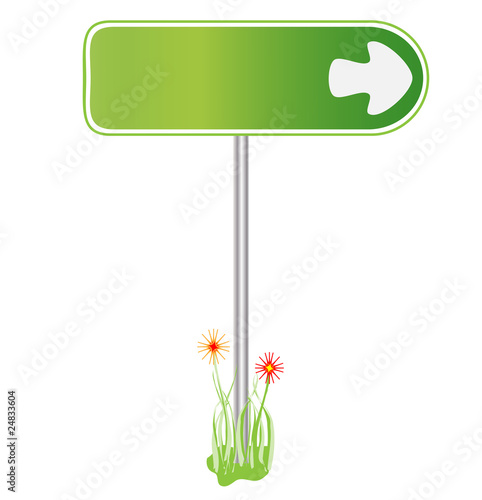 Green sign for direction