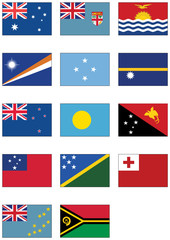 Vector flag set of all Australian and Oceanian countries.