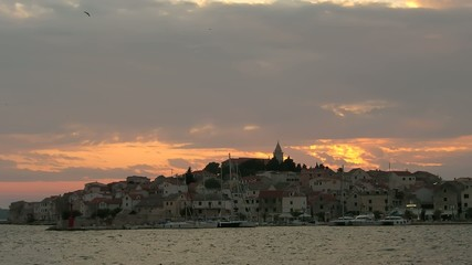 Time lapse sunset over Primosten, Croatia