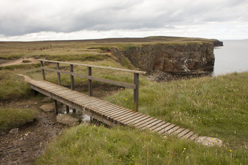 Wooden bridge at Orkney islands