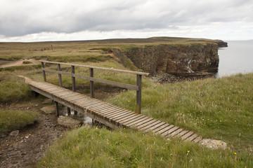 Wooden bridge at Orkney islands
