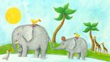 Fototapety Mom and baby elephant